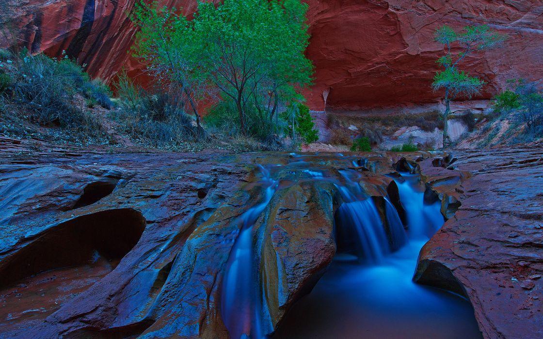 rocks waterfall wallpaper