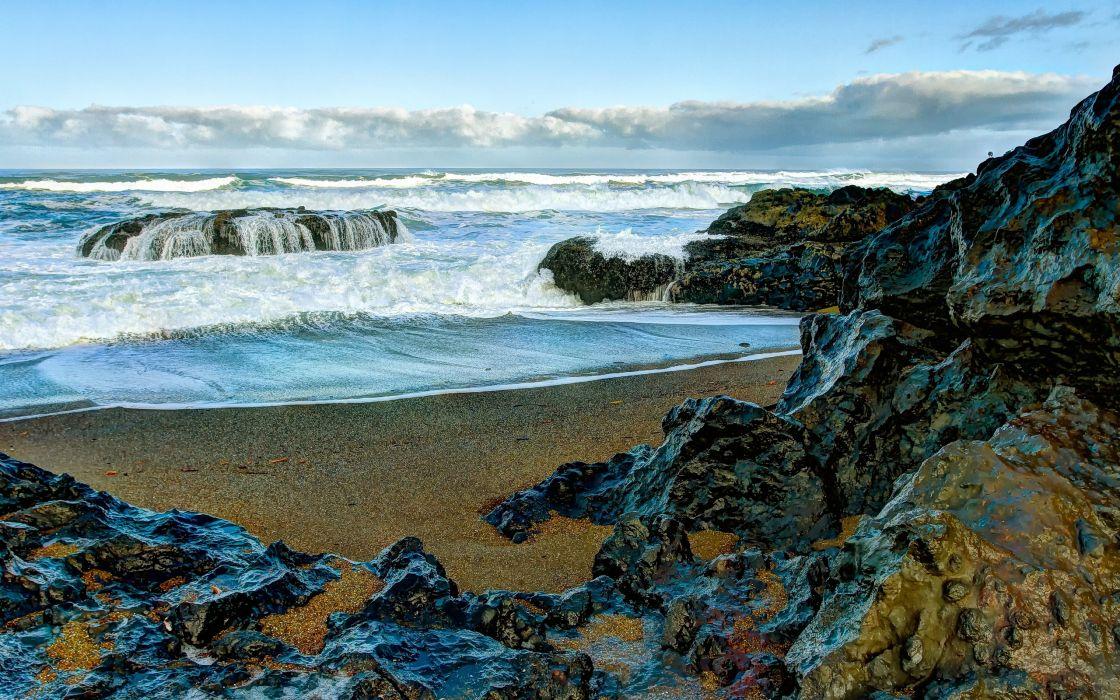 sea shore rocks landscape ocean waves wallpaper