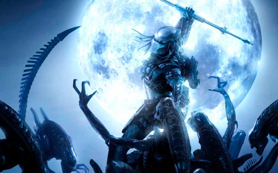 Aliens vs_ Predator Games sci-fi alien weapons moon battle wallpaper