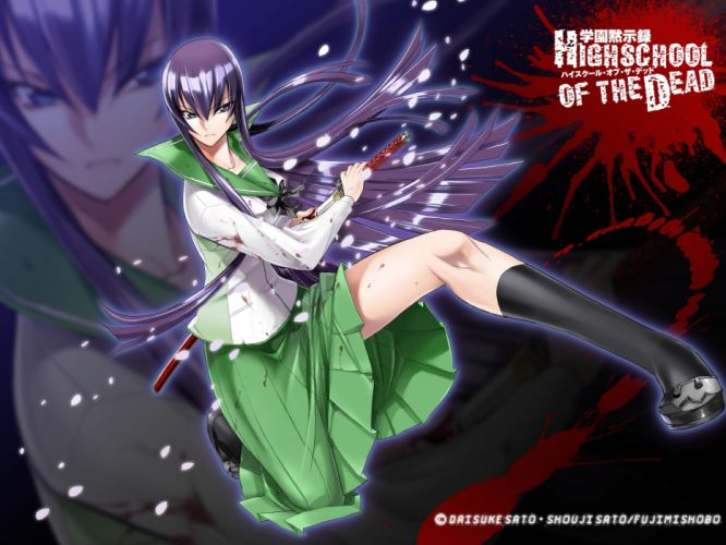 blood busujima saeko highschool of the dead seifuku sword weapon zoom layer wallpaper