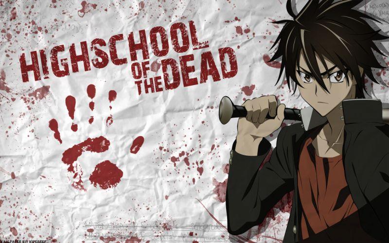 blood highschool of the dead komuro takashi weapon wallpaper