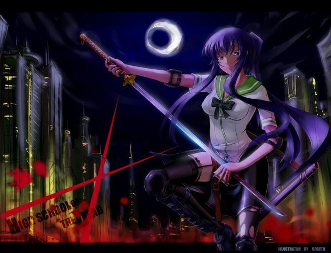 busujima saeko highschool of the dead katana sword weapon wallpaper