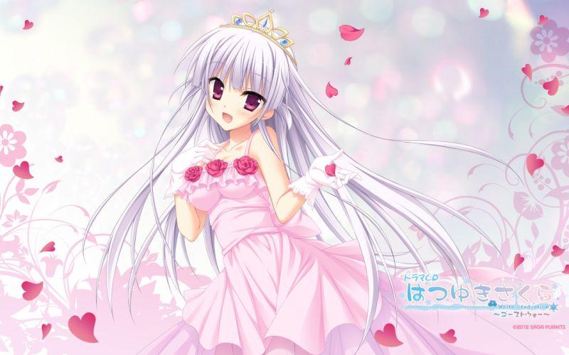 crown dress flowers gloves gray hair hatsuyuki sakura hontani kanae petals rose saga planets tamaki sakura wedding dress wallpaper