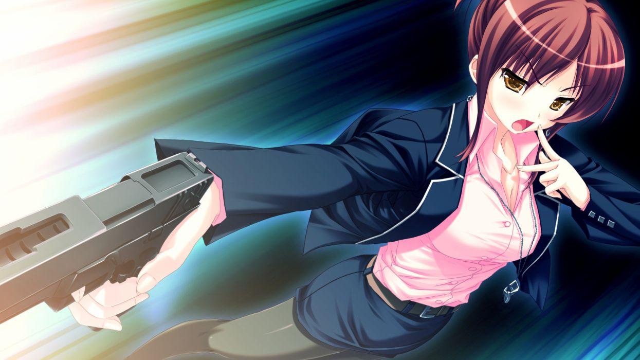 game cg glasses gun makita maki shinigami no testament short hair ueyonahara kiri weapon wallpaper