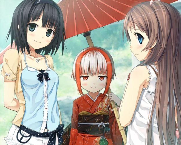 girls alishima alice blush cura game cg headband japanese clothes monobeno sawai natsuha sumi (monobeno) umbrella wallpaper
