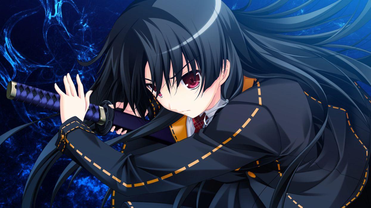 black hair game cg ichinose yua katana makita maki red eyes shinigami no testament sword weapon wallpaper