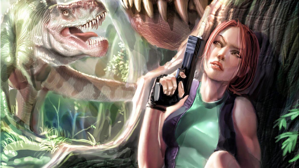 dinosaurs Tomb Raider Lara Croft artwork Tyrannosaurus Rex wallpaper