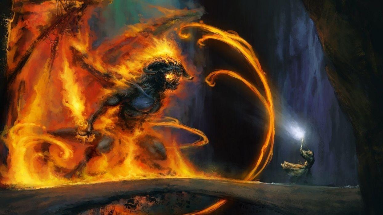 Balrog Gandalf fire fantasy art artwork The Mines of Moria wallpaper