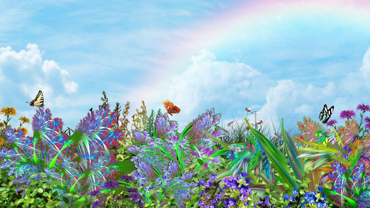 butterflies plants flowers nature 3d art butterflysky wallpaper