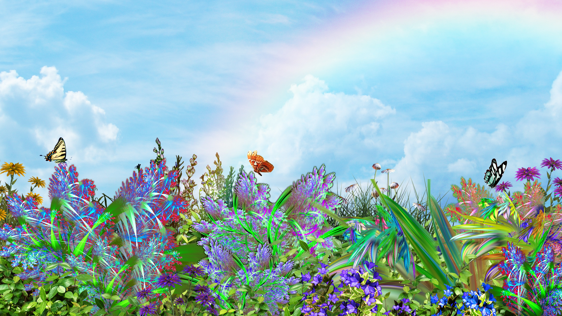 Butterflies plants flowers nature 3d art butterflysky ...