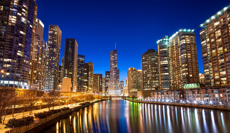 Chicago buildings skyscrapers river embankment night city glare chicago buildings skyscrapers river embankment night city glare skyscraper reflection window rivers wallpaper 3000x1737 75095 wallpaperup voltagebd Image collections
