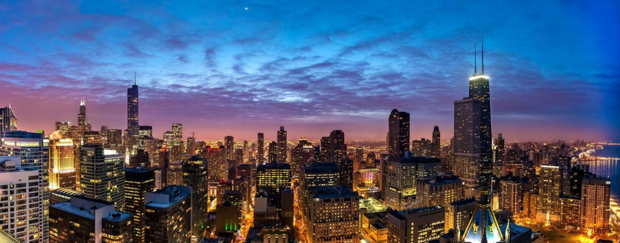 Chicago buildings skyscrapers view night city skyscraper window wallpaper