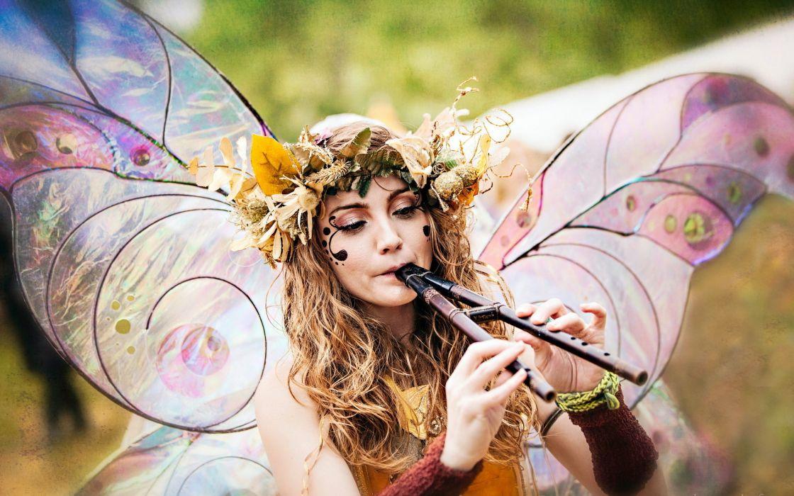 girl masquerade music blonde fairy mood women fantasy other females wallpaper
