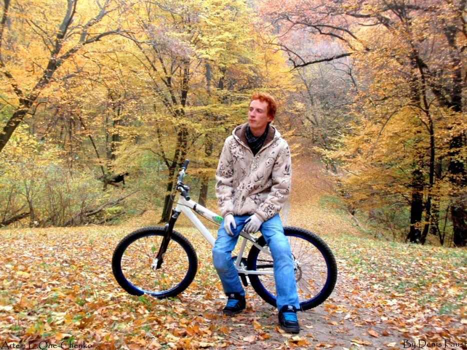 bike autumn (season) forest Ukraine rude Cycle Mountain biking wallpaper