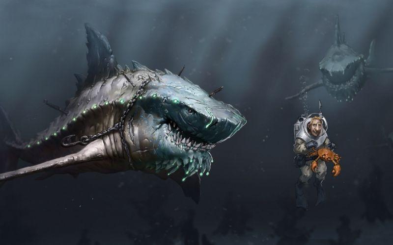 Art sea underwater sharks Megalodon predators starvation people scuba crab chain hook sci-fi dark ocean sea wallpaper