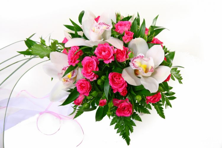 Bouquets Roses Orchid Flowers wallpaper