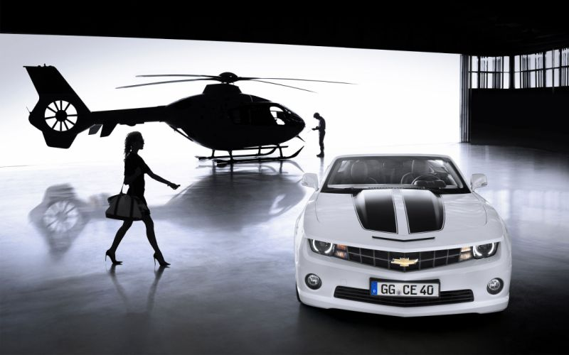 Chevrolet Camaro Convertible 2012 a helicopter a girl muscle cars wallpaper