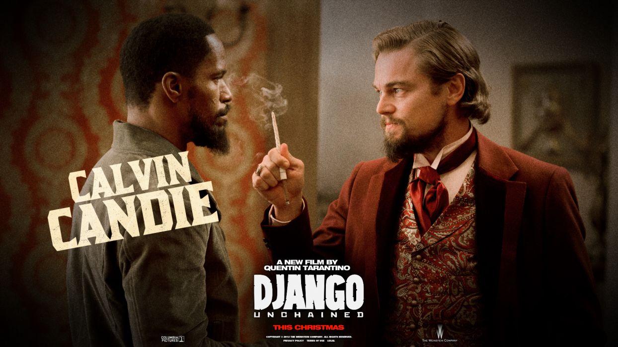 Django Unchained Leonardo DiCaprio Jaime Foxx Cigarette wallpaper