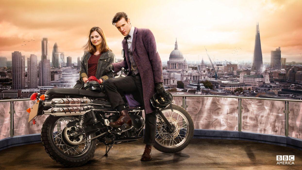 Doctor Who Matt Smith Jenna Louise Coleman Motorcycle Wallpaper