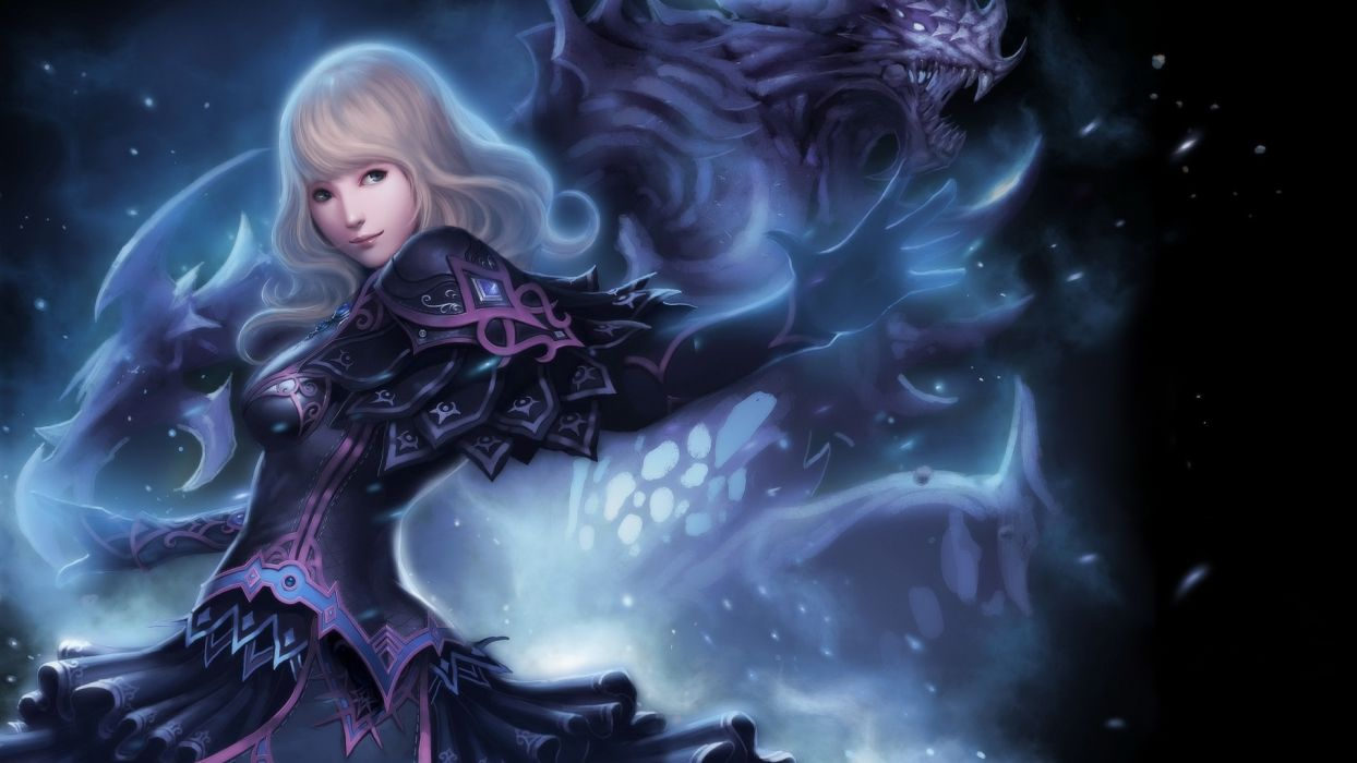 Drawing Blonde Warrior anime girls monster magic wallpaper