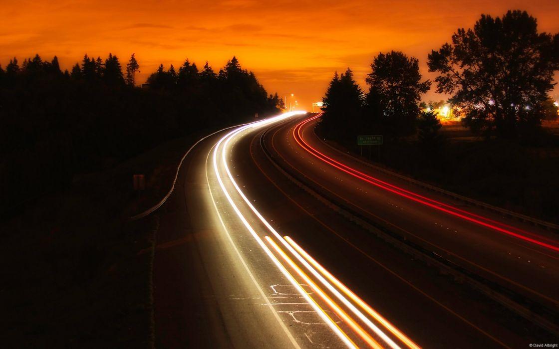 Freeway Timelapse roads lights night sunset wallpaper