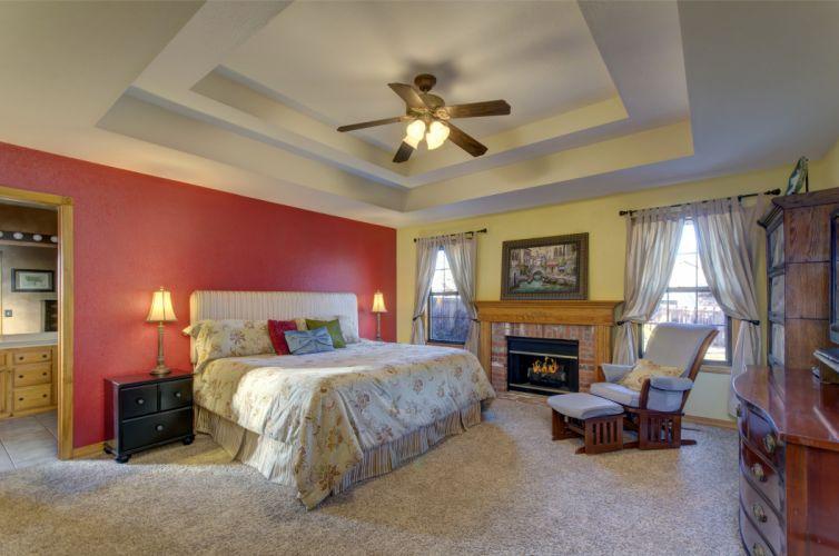 Interior Bed Fireplace Room Bedroom Ceiling Design wallpaper