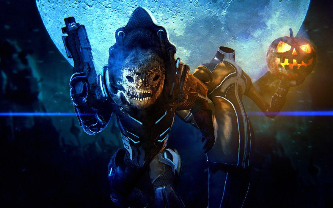 Mass Effect Halloween Pumpkin sci-fi dark weapons weapon monster monsters wallpaper