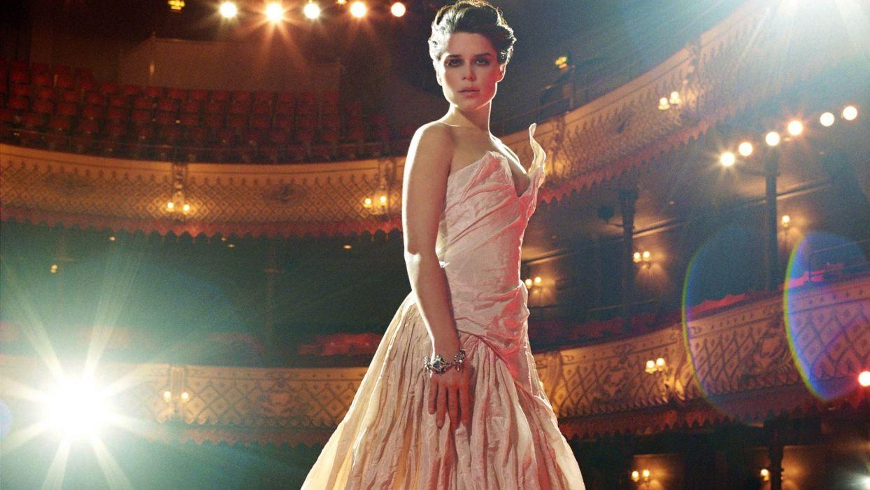 Neve Campbell Brunette Dress Theater Light Brunettes women females actress cleavage wallpaper