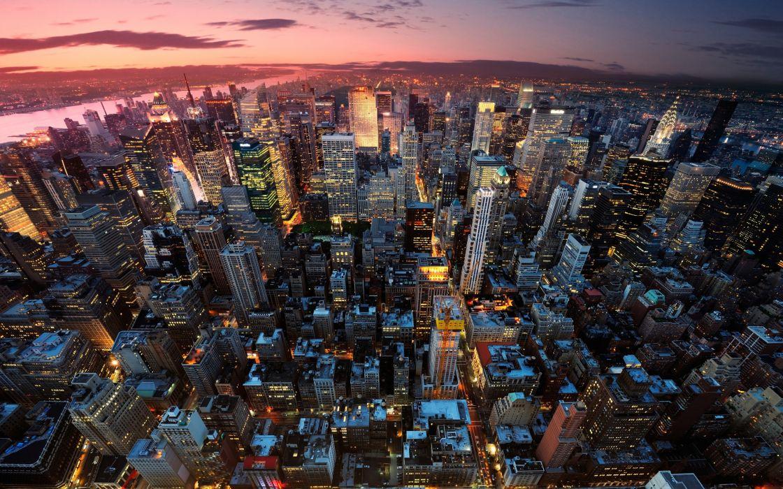 New York Manhattan USA city panorama night sunset lights light house building skyscraper skyscrapers wallpaper