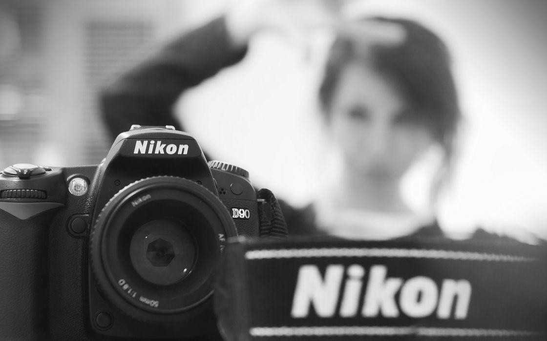 Nikon Camera BW Brunette wallpaper