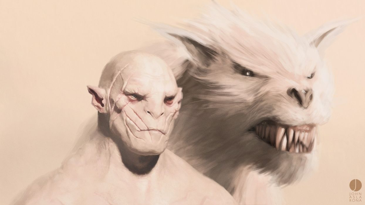 The Lord of the Rings The Hobbit Drawing dark werewolf monsters monster wallpaper