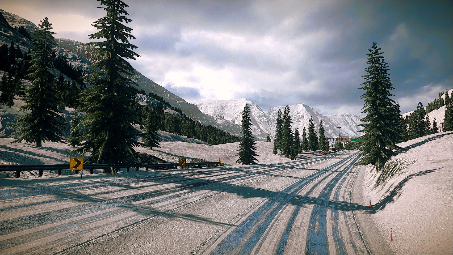Trees Snow Winter Road Landscapes Mountains Wallpaper