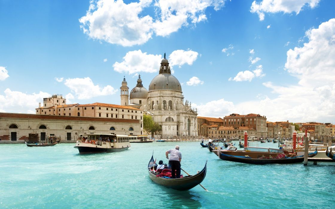 Venice Boats Buildings rivers canal people cities wallpaper