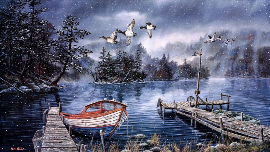 winter snow rustic duck ducks birds lakes trees boat boats country art print painting wallpaper