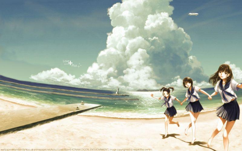 anegasaki nene animal beach bird brown eyes brown hair clouds kobayakawa rinko love plus takane manaka water wallpaper