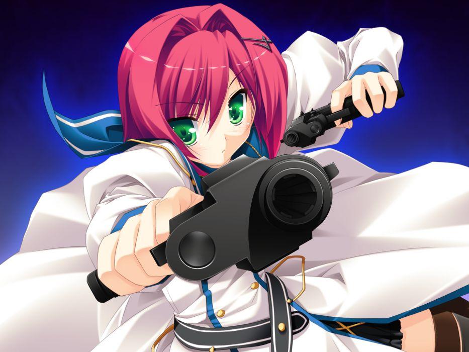 bloody rondo game cg green eyes gun nikaidou rinko red hair sakaki maki short hair weapon wallpaper