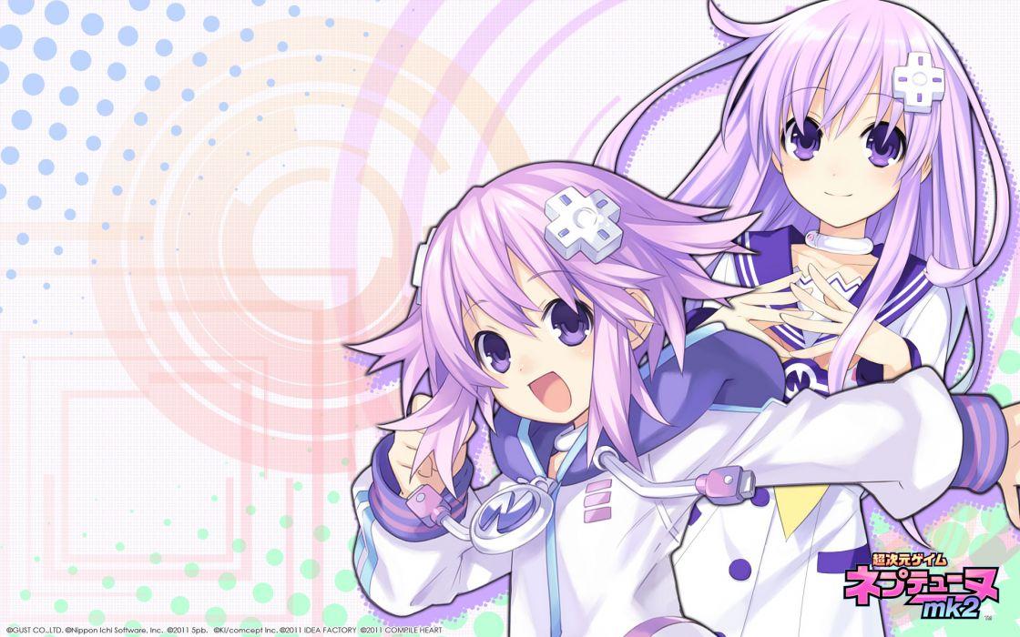 blue eyes hyperdimension neptunia mk2 long hair nepgear neptune purple hair short hair tsunako wallpaper