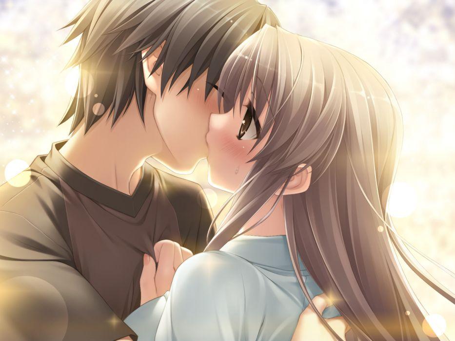 blush brown eyes game cg gray hair kanekiyo miwa kiss long hair natsu no ame shinooka misa wallpaper