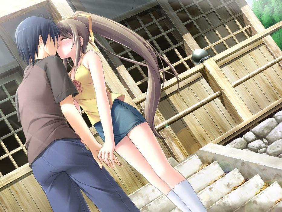 blush game cg kantoku kiss miyazawa midori natsu no ame wallpaper