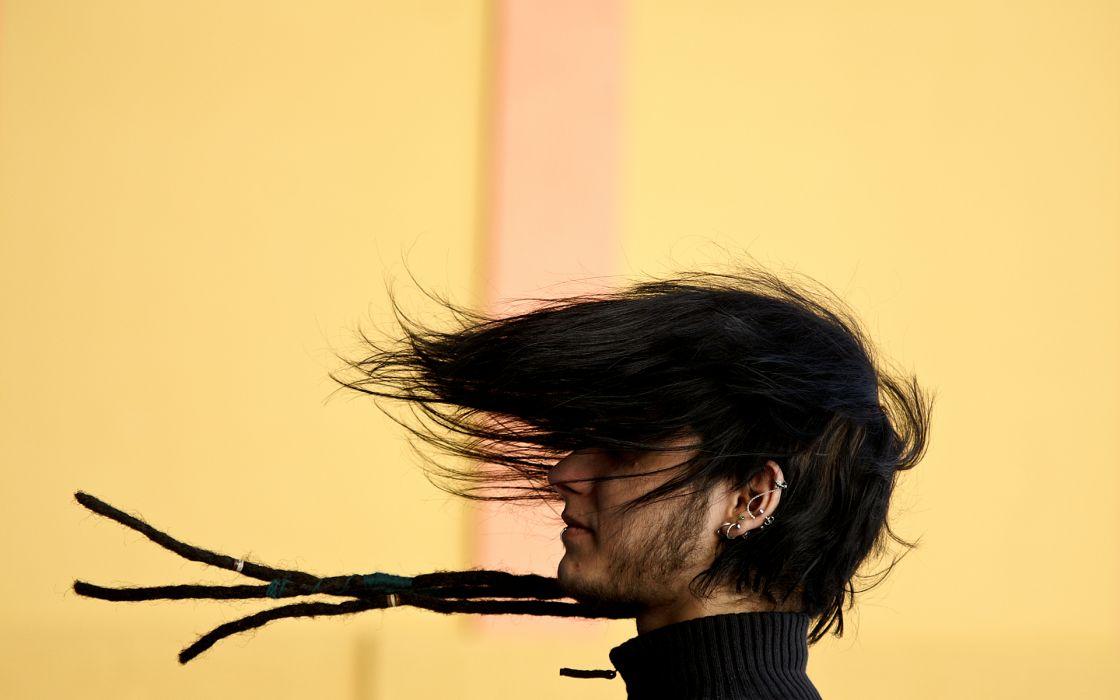 brunettes wind dude piercings dreads hairstyle wallpaper