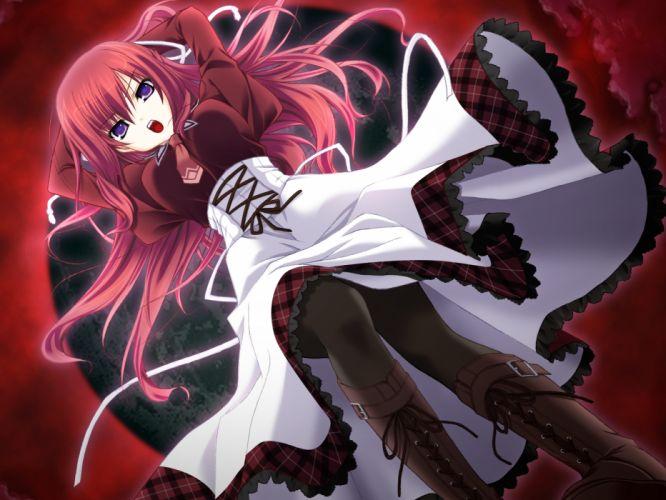 11 eyes game cg hayakawa harui kusakabe misuzu pantyhose red hair wallpaper