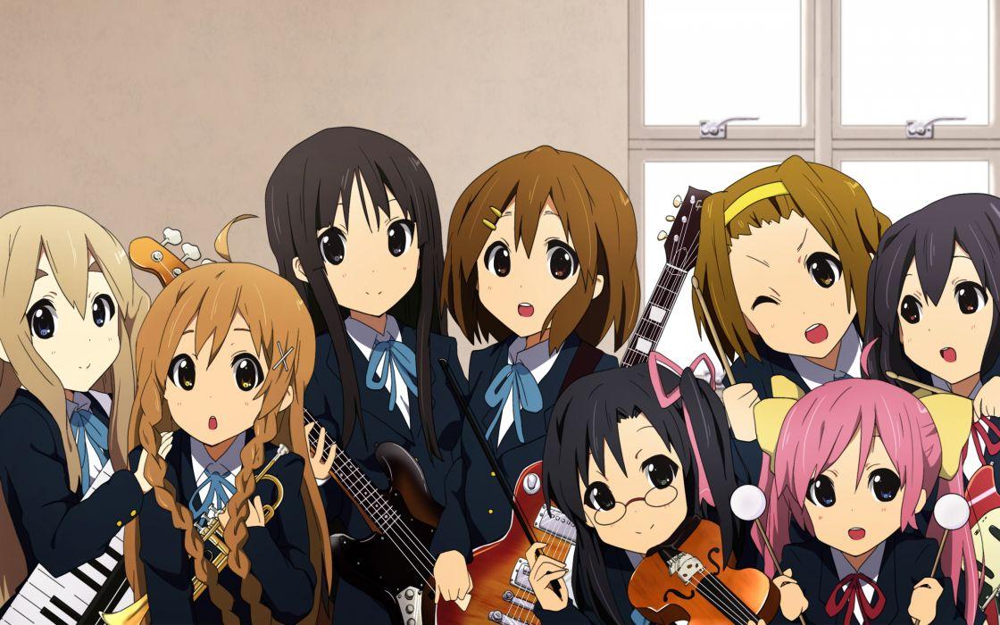 akiyama mio braids crossover glasses group guitar headband hirasawa yui instrument k-on! nakano azusa seifuku suenaga mirai tainaka ritsu violin wallpaper