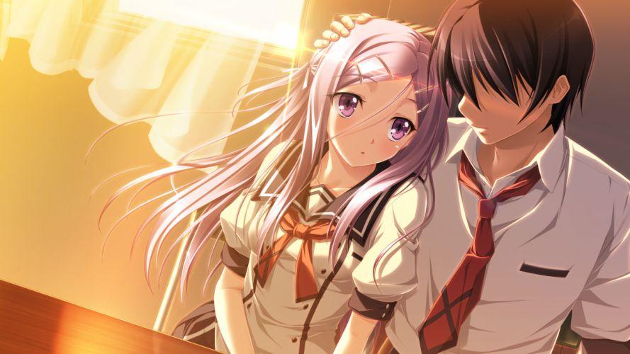 amou mikage game cg kikurage purple software seifuku shiawase kazokubu wallpaper