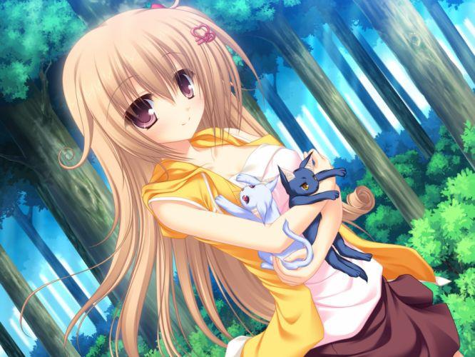 animal blush brown hair cat game cg long hair neko koi ryuudou misaki whirlpool wallpaper