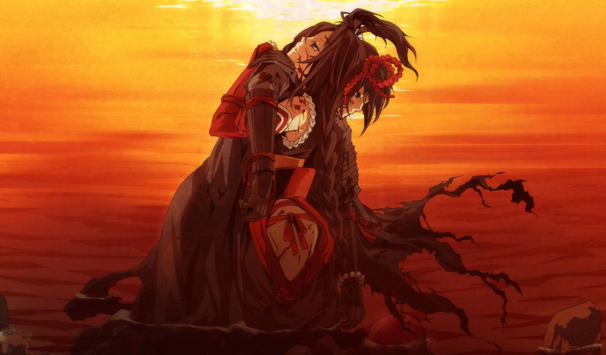 armor black hair blood g yuusuke game cg kajiri kamui kagura sunset wallpaper