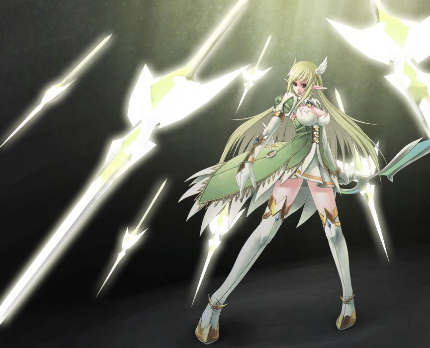 armor cleavage elbow gloves elf elsword green eyes green hair long hair rena (elsword) rotix sword thighhighs weapon wallpaper