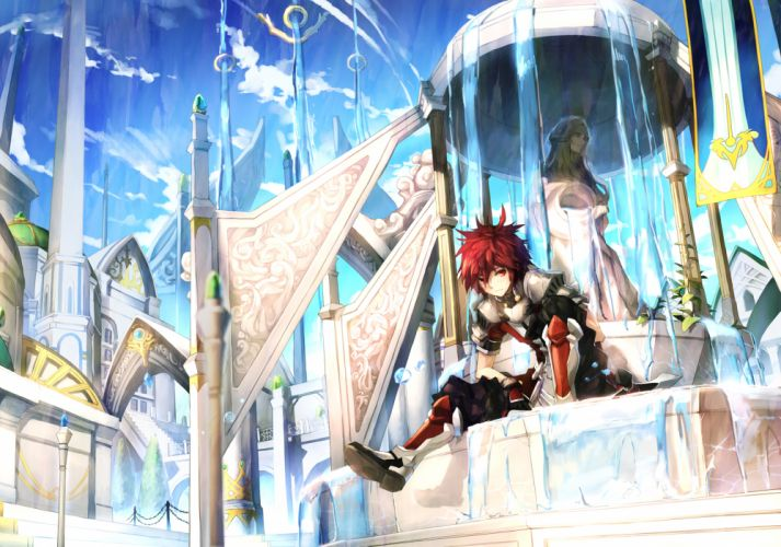 armor blush boots clouds elsword gloves long hair red eyes red hair scorpion5050 sky tagme water wallpaper