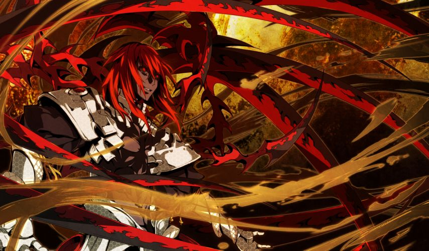 armor g yuusuke game cg kajiri kamui kagura male red eyes red hair weapon wallpaper