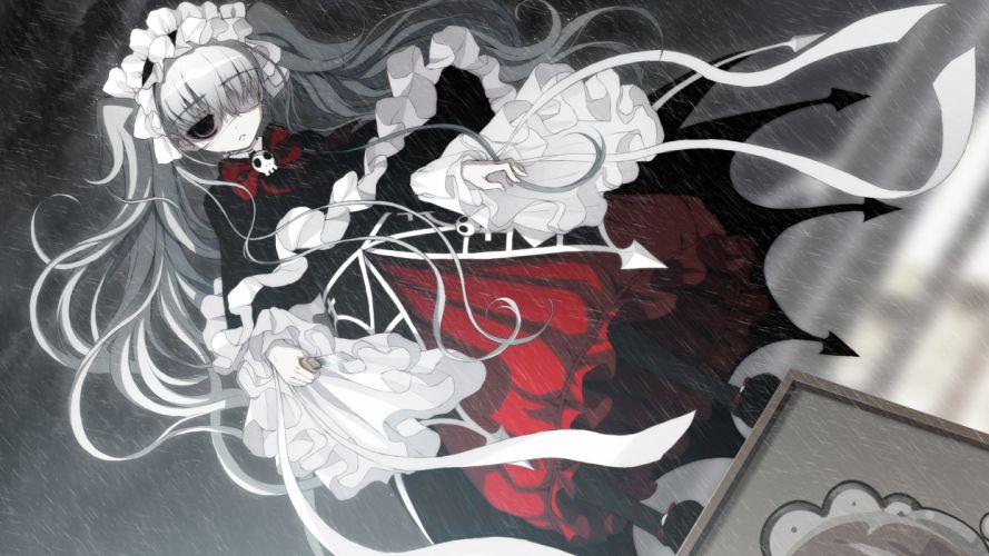 axanael dress eyepatch game cg gothic gray hair nitroplus nooko rain tsuji santa twintails wallpaper