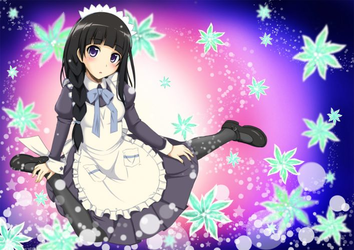 black hair blush braids chitanda eru headdress hyouka maid wallpaper